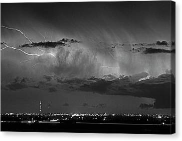 The Lightning Man Canvas Print - Cloud To Cloud Lightning Boulder County Colorado Bw by James BO  Insogna