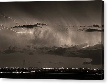 Cloud To Cloud Lightning Boulder County Colorado Bw Sepia Canvas Print by James BO  Insogna