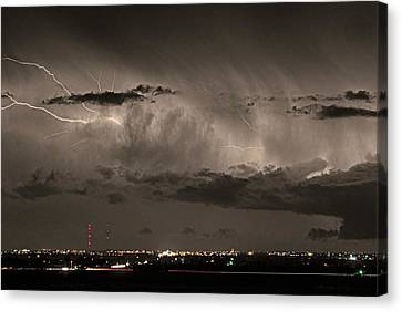 The Lightning Man Canvas Print - Cloud To Cloud Lightning Boulder County Colorado Sepia Color Mix by James BO  Insogna