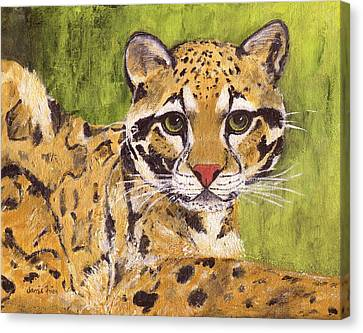 Canvas Print featuring the painting Clouded Cat by Jamie Frier