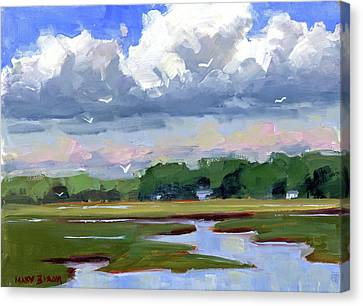 Clouds Above The Marsh Canvas Print by Mary Byrom