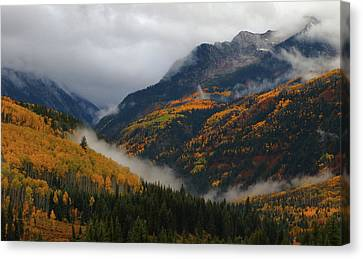 Canvas Print featuring the photograph Clouds And Fog Encompass Autumn At Mcclure Pass In Colorado by Jetson Nguyen