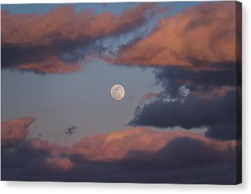 Canvas Print featuring the photograph Clouds And Moon March 2017 by Terry DeLuco