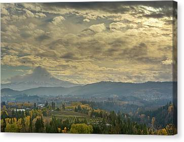 Canvas Print - Clouds And Sun Rays Over Mount Hood And Hood River Oregon by David Gn