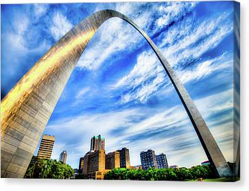 Clouds Moving Over The Saint Louis Skyline And Arch  Canvas Print by Gregory Ballos