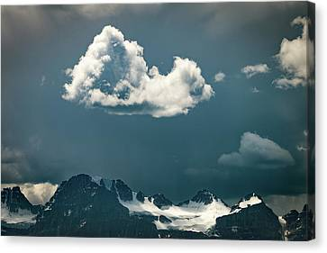 Canvas Print featuring the photograph Clouds Over Glacier, Banff Np by William Lee