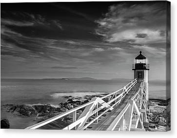Canvas Print featuring the photograph Clouds Over Marshall Point Lighthouse In Maine by Ranjay Mitra