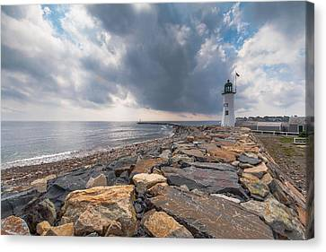 Clouds Over Old Scituate Light Canvas Print by Brian MacLean