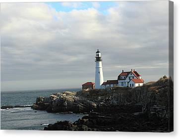 Clouds Over Portland Head Lighthouse 2 Canvas Print