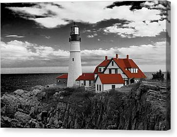 Clouds Over Portland Head Lighthouse 3 - Bw Canvas Print