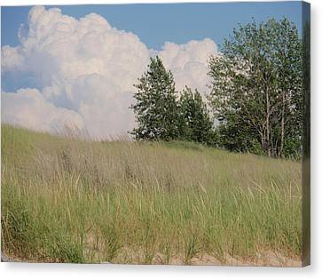 Canvas Print featuring the photograph Clouds Over Sand Dunes by Beth Akerman