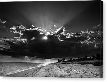Chrystal Canvas Print - Clouds Over Sanibel Island Florida In Black And White by Chrystal Mimbs