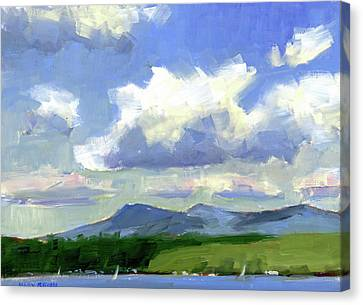 Clouds Over The Lake Canvas Print by Mary Byrom