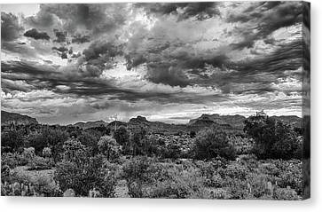Canvas Print featuring the photograph Clouds Over The Superstitions by Monte Stevens