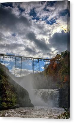 Clouds Over Upper Falls Canvas Print by Rick Berk