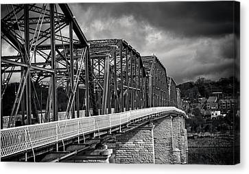 Canvas Print featuring the photograph Clouds Over Walnut Street Bridge In Black And White by Greg Mimbs