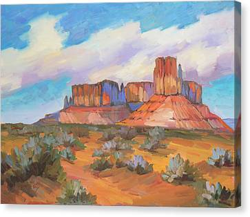 Canvas Print featuring the painting Clouds Passing Monument Valley by Diane McClary