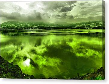 Canvas Print featuring the photograph Clouds Reflecting Off The Columbia  by Jeff Swan