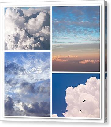 Canvas Print featuring the photograph Cloudscapes Collage by Jenny Rainbow