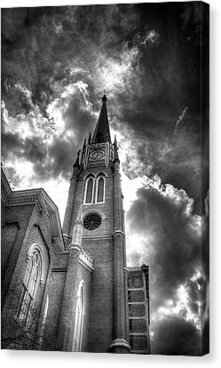 Cloudy Assumption Black And White Canvas Print by Royal Photography