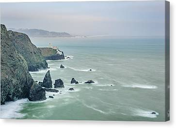Cloudy Day At Marin Headlands - Point Bonita Lighthouse Photograph Canvas Print by Duane Miller