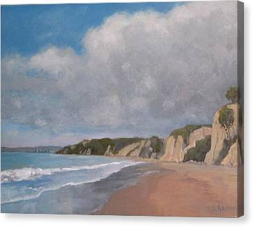 Cloudy Day At Summerland Beach Canvas Print