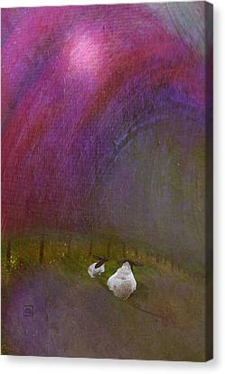 Canvas Print featuring the digital art Cloudy Day Sheep by Jean Moore
