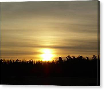 Canvas Print featuring the photograph Cloudy Golden Sky At Dawn by Kent Lorentzen