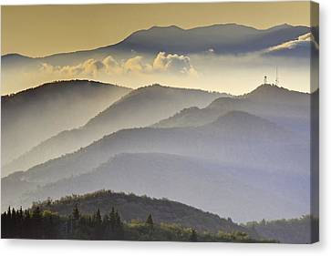 Cloudy Layers On The Blue Ridge Parkway - Nc Sunrise Scene Canvas Print by Rob Travis