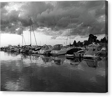 Cloudy Marina Perspective B W Canvas Print
