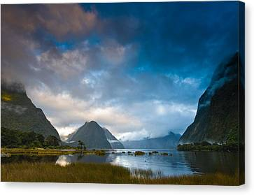 Cloudy Morning At Milford Sound At Sunrise Canvas Print