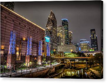 Cloudy Night In Houston Canvas Print by David Morefield