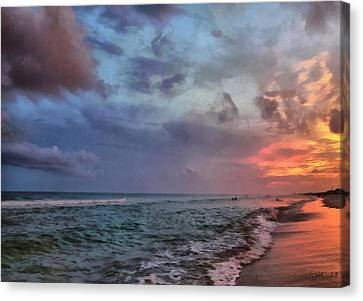 Cloudy Ocean Sunset Canvas Print by Theresa Campbell