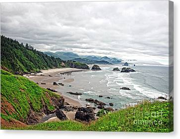 Cloudy Oregon Coast From Ecola Park Canvas Print by Lincoln Rogers