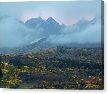 Canvas Print featuring the photograph Cloudy Peaks by Aaron Spong