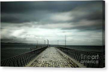 Canvas Print featuring the photograph Cloudy Pier by Perry Webster