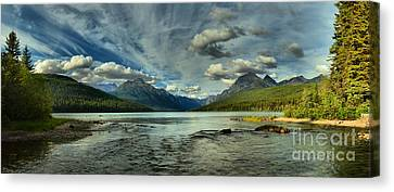 Cloudy Skies Over Bowman Lake Canvas Print by Adam Jewell