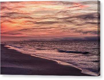 Canvas Print featuring the photograph Cloudy Sunrise At The Beach by John McGraw