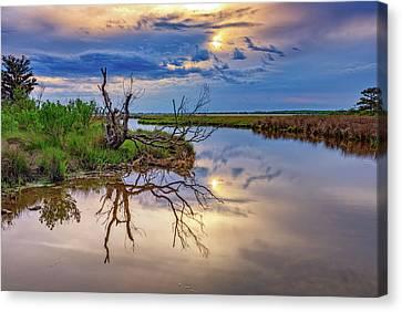 Chincoteague Canvas Print - Cloudy Sunset On Assateague Island by Rick Berk