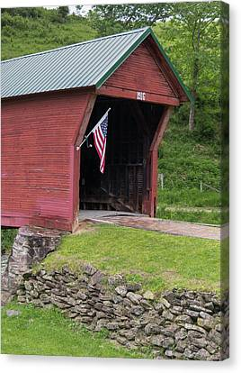 Clover Hollow Covered Bridge 01 Canvas Print by Teresa Mucha