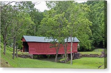 Clover Hollow Covered Bridge 02 Canvas Print by Teresa Mucha