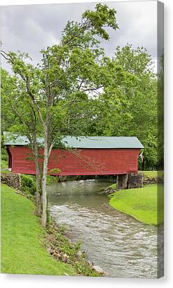 Clover Hollow Covered Bridge 03 Canvas Print by Teresa Mucha