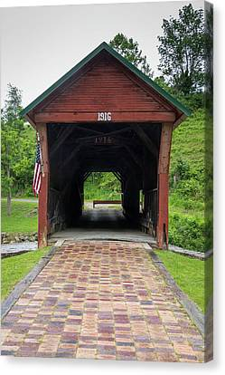 Clover Hollow Covered Bridge 04 Canvas Print by Teresa Mucha