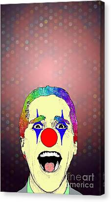 Canvas Print featuring the drawing clown Christian Bale by Jason Tricktop Matthews