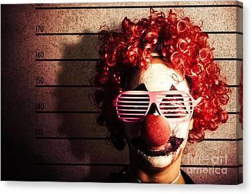 Arrest Canvas Print - Clown Criminal Mug Shot Photo Id On Police Lines by Jorgo Photography - Wall Art Gallery