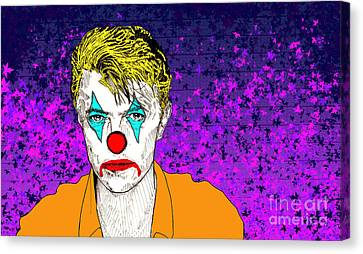 Canvas Print featuring the drawing Clown David Bowie by Jason Tricktop Matthews