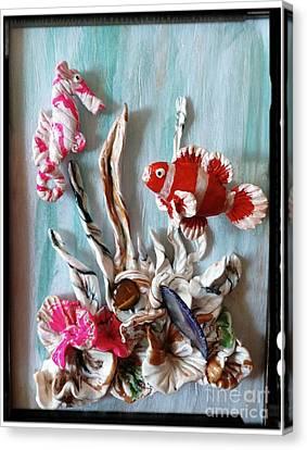 Clown Fish Canvas Print - Clown Fish And Seahorse Having Fun by Kirk Wieland