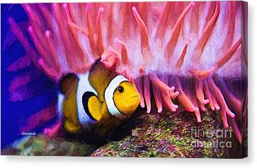 Clown Fish Canvas Print - Clown Fish  On Coral Reef by Garland Johnson