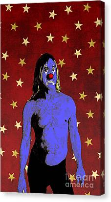 Canvas Print featuring the drawing Clown Iggy Pop by Jason Tricktop Matthews