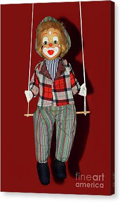 Clown On Swing By Kaye Menner Canvas Print